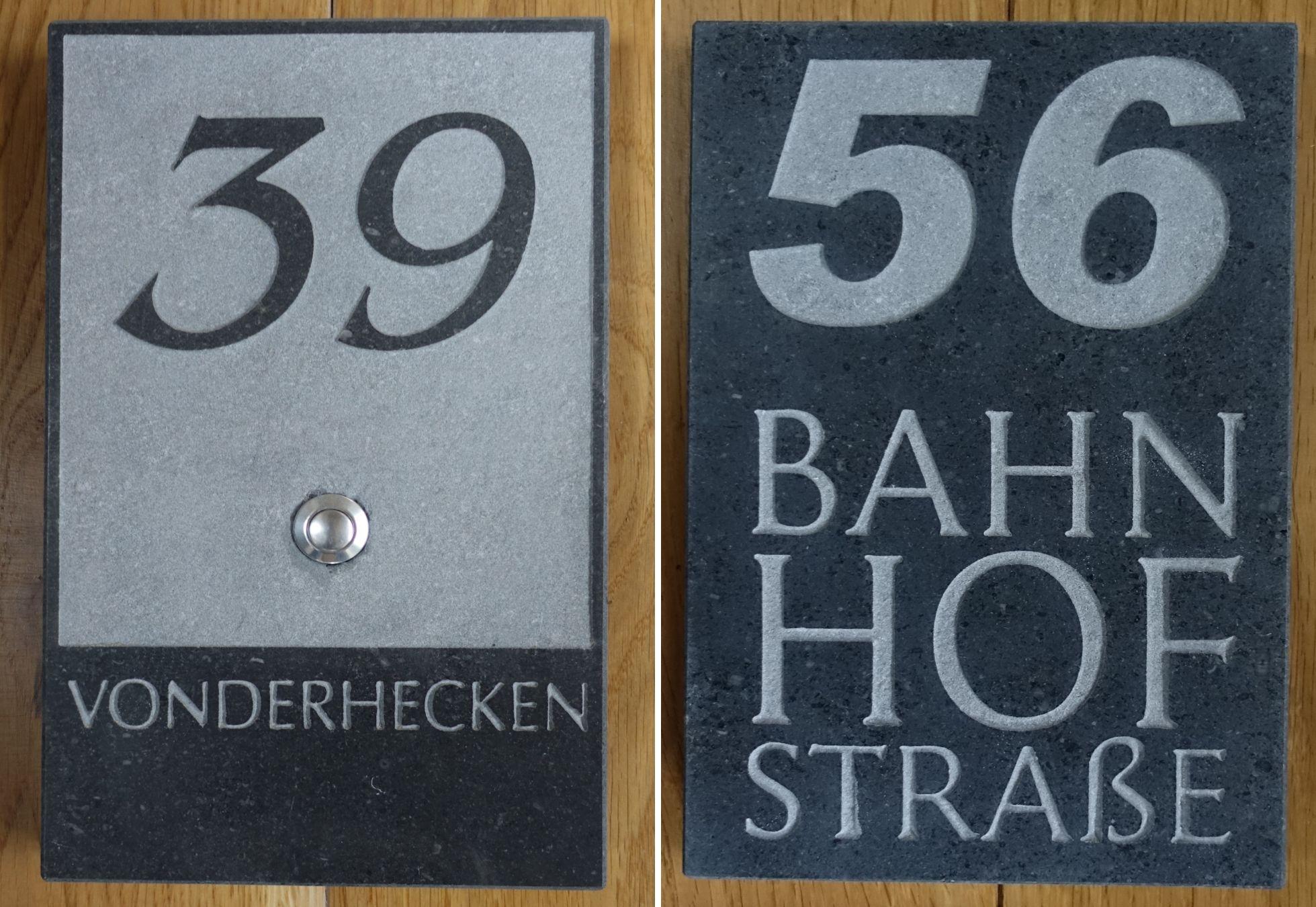 blaustein hausnummern naturstein vonderhecken. Black Bedroom Furniture Sets. Home Design Ideas